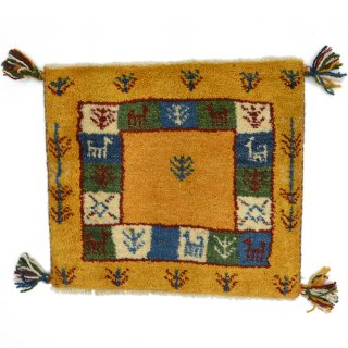 ペルシャンギャッベ イエロー系 座布団サイズ 約46×40.5cm
