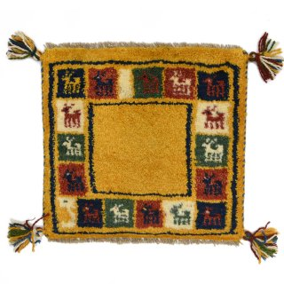 ペルシャンギャッベ イエロー系 座布団サイズ 約40×38.5cm