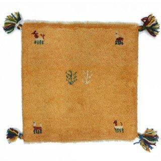ペルシャンギャッベ イエロー系 座布団サイズ 約40.5×41cm