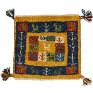 ペルシャンギャッベ イエロー系 座布団サイズ 約41×38.5cm