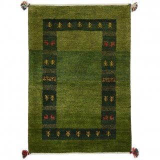 ペルシャンギャッベ ザロチャラク 玄関マット80×120サイズ 83×122.5cm グリーン系