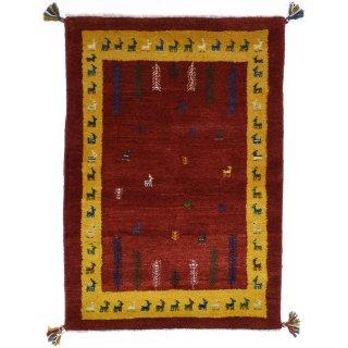 ペルシャンギャッベ ザロチャラク 玄関マット80×120サイズ 84×123.5cm レッド系