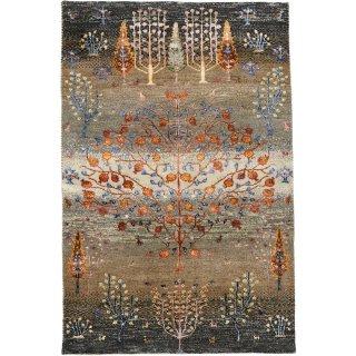 インド手織ギャッベ 「ディーヤバンブー」 ザクロ柄 玄関マットサイズ 約80×120cm