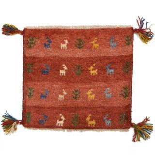 ペルシャンギャッベ レッド系 座布団サイズ 約41.5×37.5cm