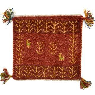 ペルシャンギャッベ レッド系 座布団サイズ 約41×37.5cm