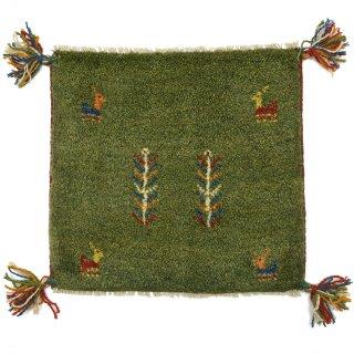 ペルシャンギャッベ グリーン系 座布団サイズ 約42.5×40cm
