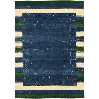 手織 ウール ラグ インドギャッベ ロリバフ ブルー系