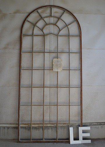 アンティーク鉄窓,  アイアンアーチウィンドウ,アーチ型アイアンフレーム,アイアンアーチウィンドウ,アンティークウインドウ,,アンティーク家具,販売1