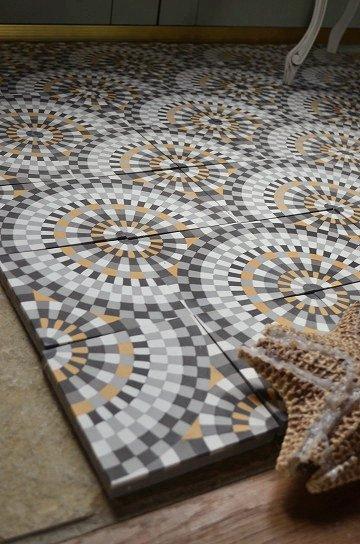 アンティークタイル c 14センチタイル セメントタイル 輸入タイル 古材 フランスタイル シャビーな床材 フロアータイル 通販5