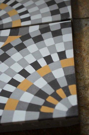 アンティークタイル c 14センチタイル セメントタイル 輸入タイル 古材 フランスタイル シャビーな床材 フロアータイル 通販8