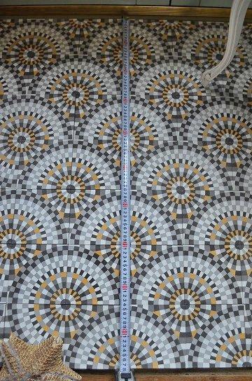 アンティークタイル c 14センチタイル セメントタイル 輸入タイル 古材 フランスタイル シャビーな床材 フロアータイル 通販4