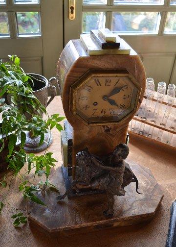 アンティーク時計,アンティーク置物,ステチュー,時計,オブジェ,大理石の置物,かわいい置物,ブロンズ像,置時計3