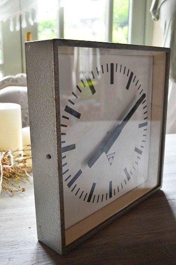 パラゴトロンクロック,パラゴトロン時計,オリジナル針,Pragotron,アンティーク時計,スチール角型,学校の古時計,壁掛け時計,アンティーク家具,通販 8