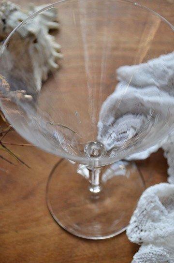 エッチング模様のクリスタルカクテルグラス,アンティークガラス,ワイングラス,カクテルグラス,エッチングガラス,ブロカント,souvenir de 1re communion,通販,販売7