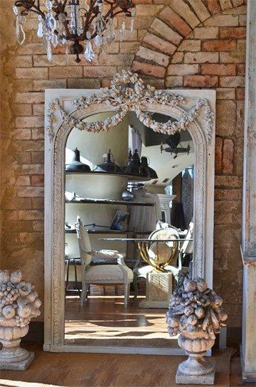 ローズガーランド装飾のモールディングミラー,ルイ16世様式ミラー,アンティークミラー,フレンチミラー,フロアミラー,アンティーク鏡,フレンチアンティーク家具,通販1