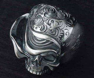 Ring/tellers skull 002 custom Jinny's(燻し光沢仕上げ)/シルバーアクセサリー/スカル/リング/15~30号