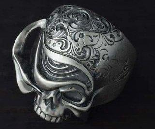 アラベスクスカルリング/tellers skull 002 custom Jinny's(燻し艶消し仕上げ)/シルバーアクセサリー/15~30号