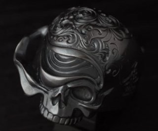 Ring/tellers skull 002 custom Jinny's(燻し黒仕上げ)/シルバーアクセサリー/スカル/リング/15~30号