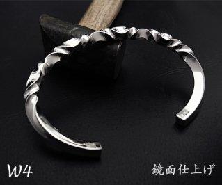 7つ波形の捻りバングル M /W4-7/シルバー950/14~19cm