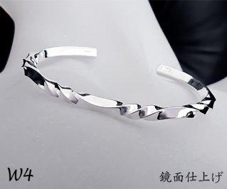 3つ波形の捻りバングル M /W4-3/シルバー950/14~19cm