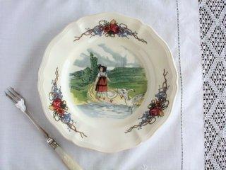 Sarreguemines アルザスの風景 ヴィンテージ花リム絵皿