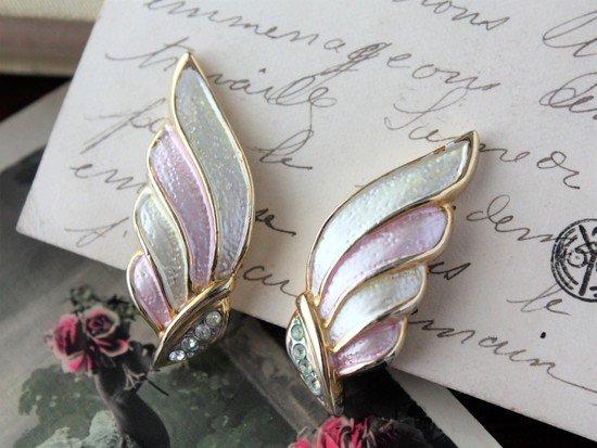 天使の羽 エナメル ヴィンテージイヤリング