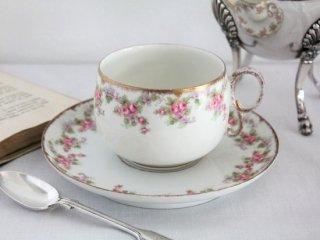 Limoges Elite Works 薔薇とスミレのガーランド アンティークカップ&ソーサー
