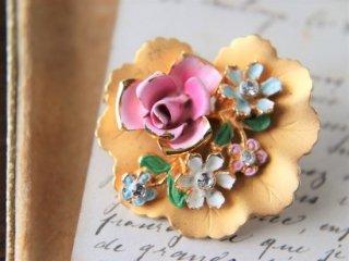 薔薇と忘れな草 エナメル ヴィンテージブローチ
