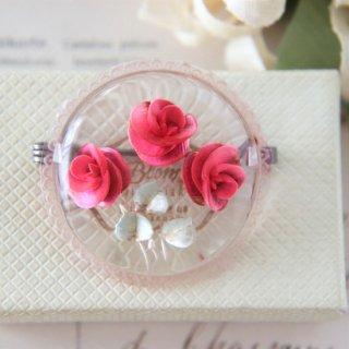 薔薇のブーケ  ルーサイト インタリオ ヴィンテージブローチ