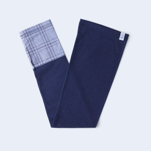sunny cloth check cuff light blue & navy