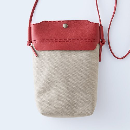 mini shoulder red & beige