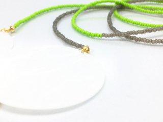 プレーン バイカラー ビーズ ネックレス(グリーン×グレー)
