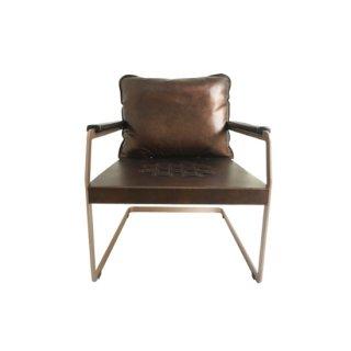 [70%OFF アウトレットSALE]イタリアンレザーチェア 本革 椅子 1人掛け ブロンズブラウン  ELLY(エリー)送料無料