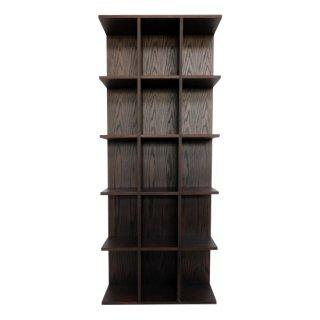 送料無料 本棚 ブックシェルフ チェスト 収納 木目 オーク 幅75cm 高さ180cm LIBRO(リブロ)ダークブラウン