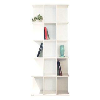 送料無料 本棚 ブックシェルフ チェスト 収納 白 ウレタン塗装 マット 幅75cm 高さ180cm LIBRO(リブロ)ホワイト