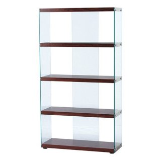 グラスシェルフ 強化ガラス ブラウン 茶 幅83cm 奥行31.5cm 高さ149cm