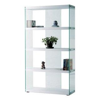 【1/31(金)まで新春SALE 10%OFF】グラスシェルフ 強化ガラス ホワイト 白 幅83cm 奥行31.5cm 高さ149cm