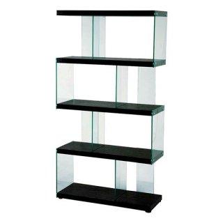 シェルフ 強化ガラス コの字 階段 オープン ブラック 黒 棚 コレクション 幅82.5cm 奥行31cm 高さ152cm