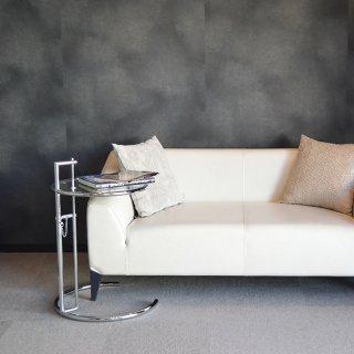 コーヒーテーブル リビング ローテーブル 直径約50cm 高さ伸縮 ガラス シンプル アイリーン・グレイ リプロダクト E-1027 サイドテーブル