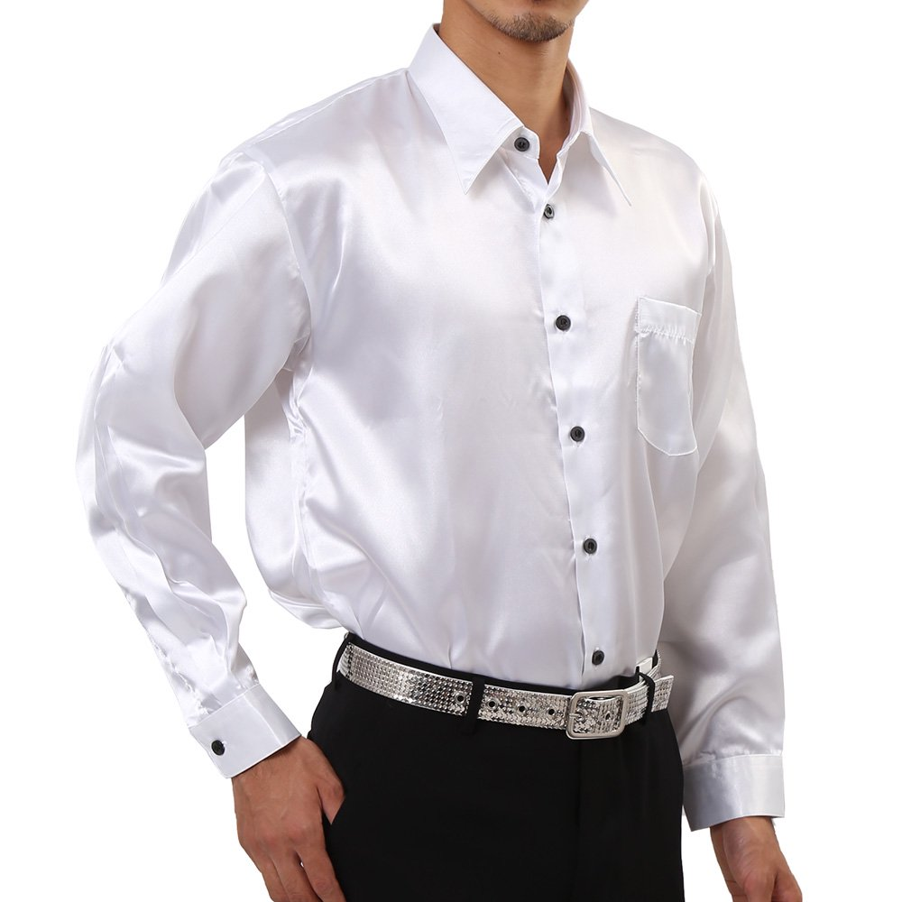 メンズ サテン 長袖 ドレスシャツ カラー:ホワイト