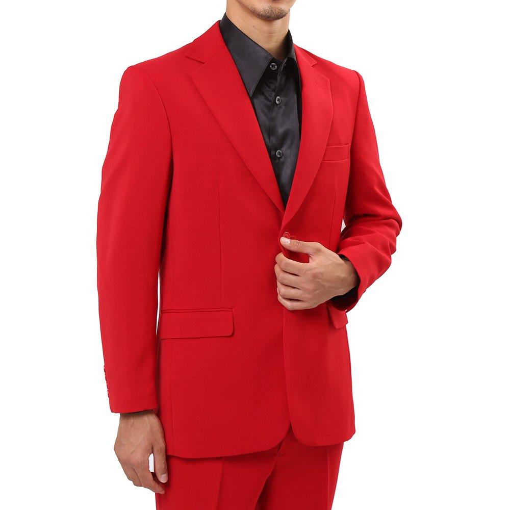 メンズ 2ボタン テーラード ジャケット カラー:レッド