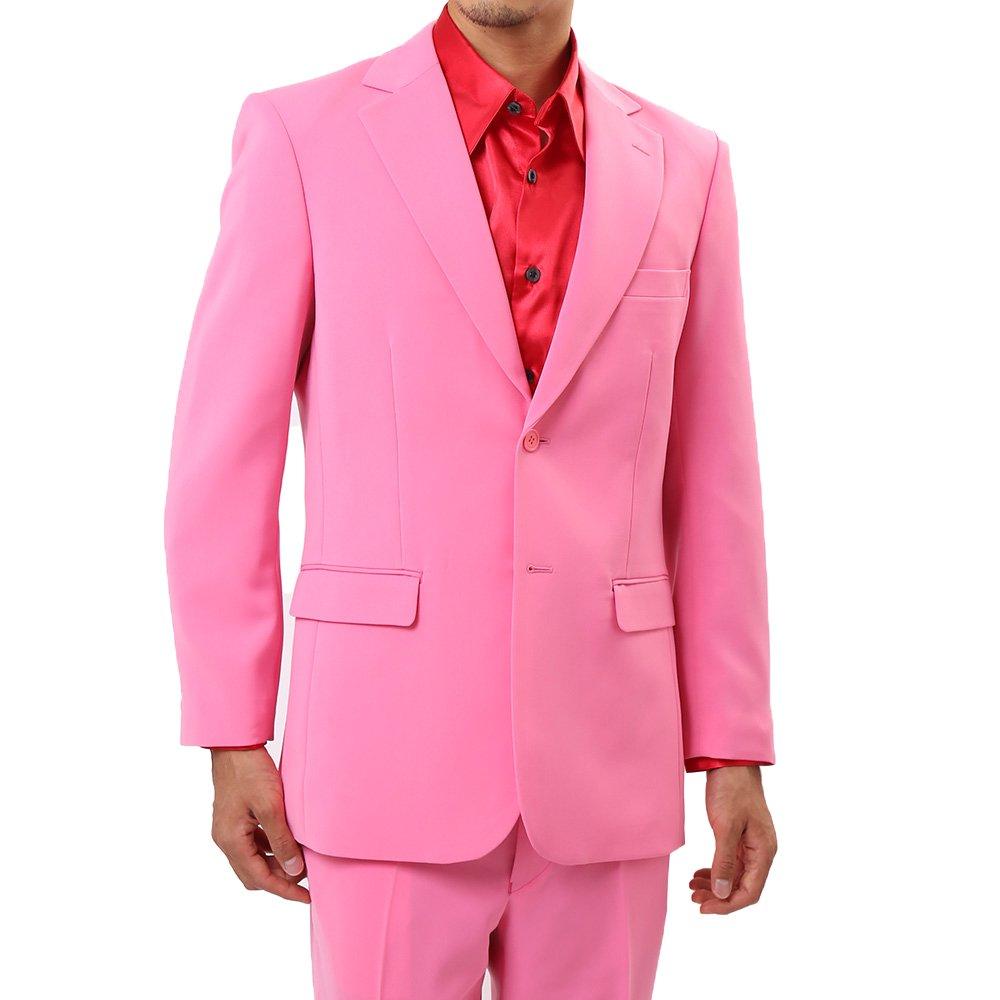 メンズ 2ボタン テーラード ジャケット カラー:ピンク