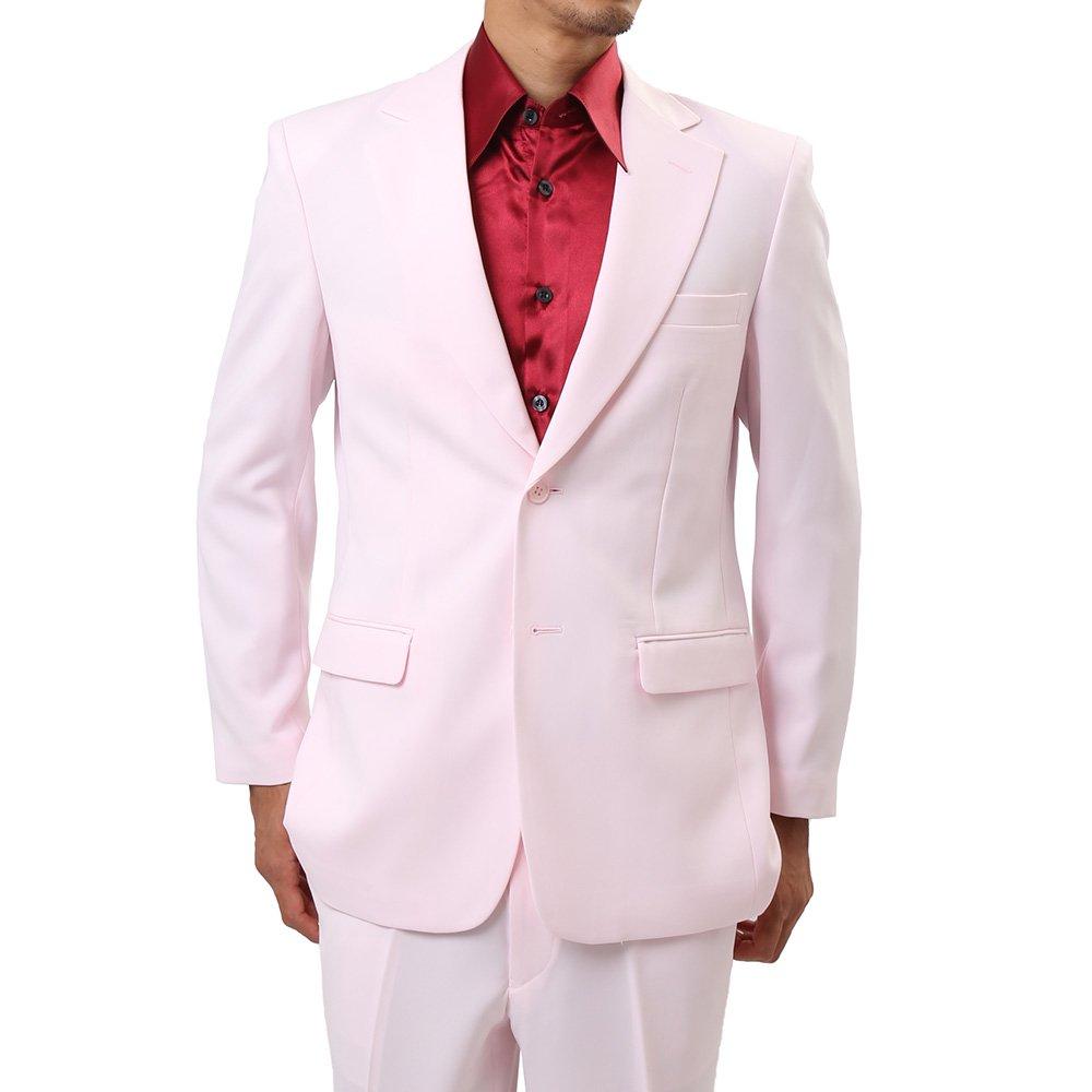 メンズ 2ボタン テーラード ジャケット カラー:ライトピンク