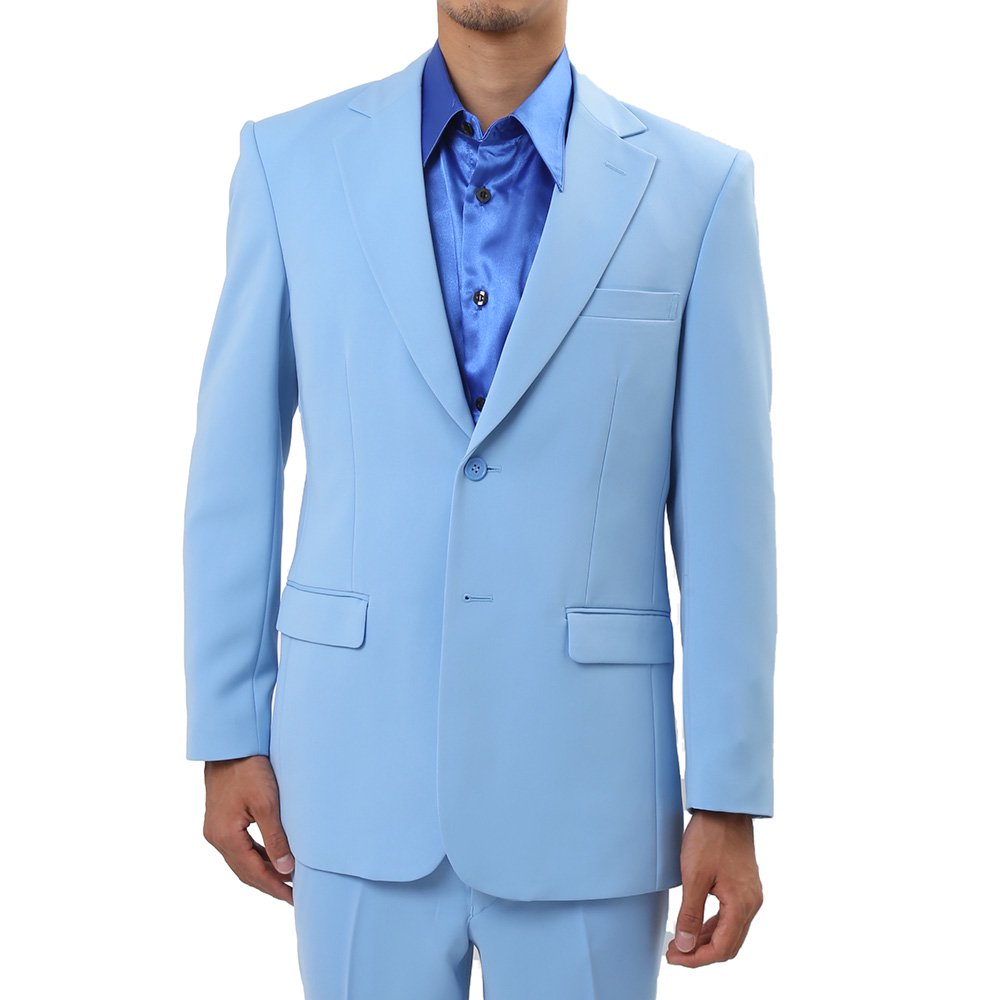 メンズ 2ボタン テーラード ジャケット カラー:サックス