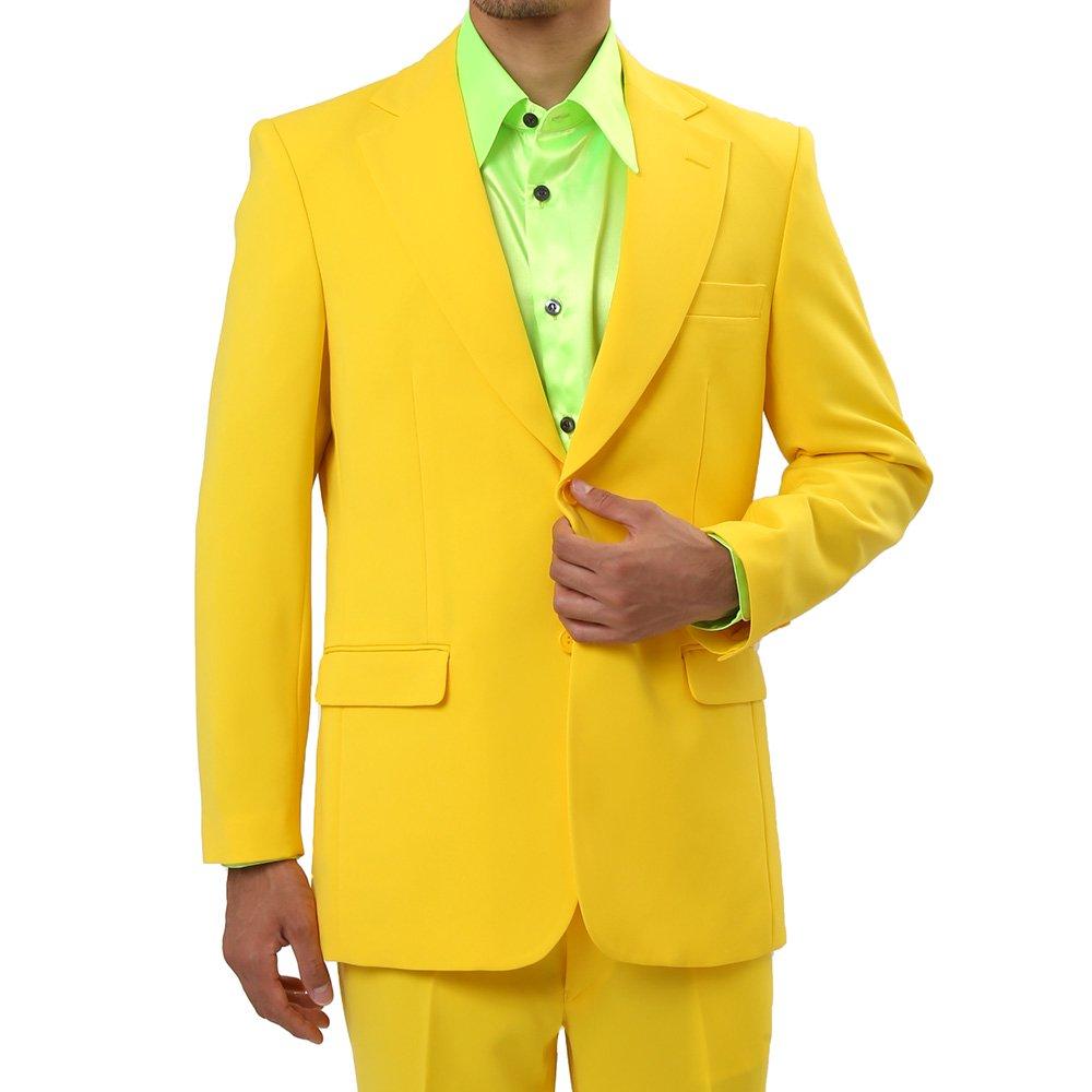 メンズ 2ボタン テーラード ジャケット カラー:イエロー