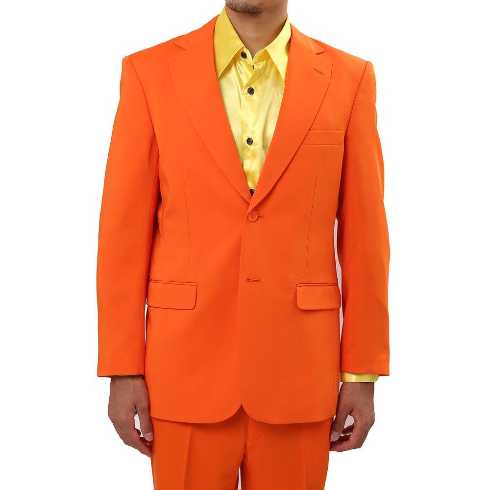 メンズ 2ボタン テーラード ジャケット カラー:オレンジ