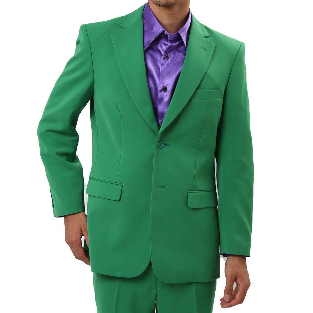 メンズ 2つボタン カラー スーツ 上下セット カラー:グリーン