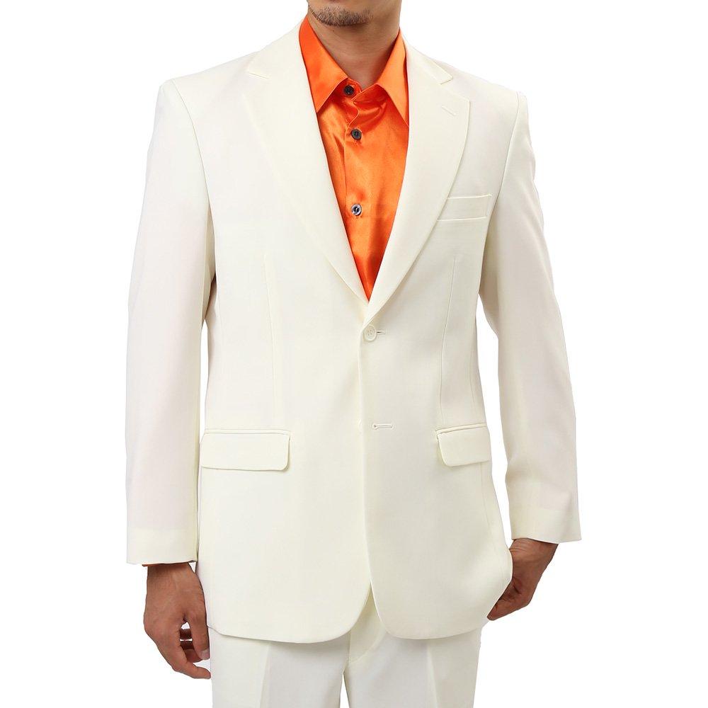 メンズ 2つボタン カラー スーツ 上下セット カラー:クリーム