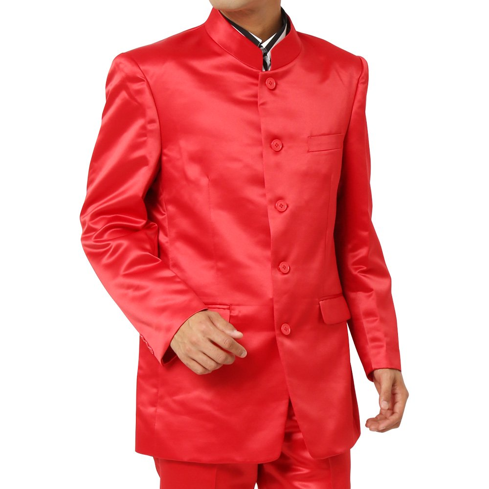 サテン マオカラージャケット メンズ 衣装 カラー:レッド