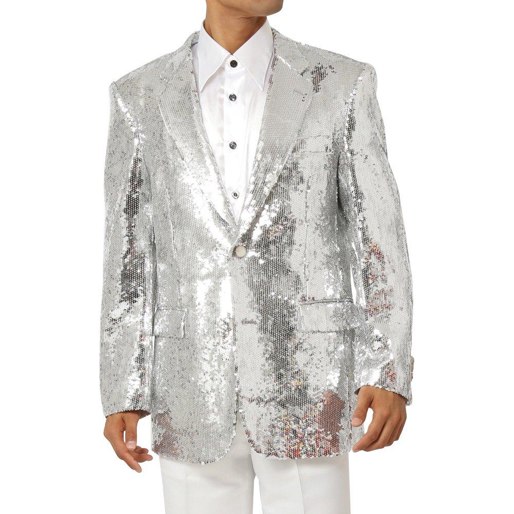 スパンコール生地 2つボタンテーラードジャケット メンズ 衣装 カラー:シルバー
